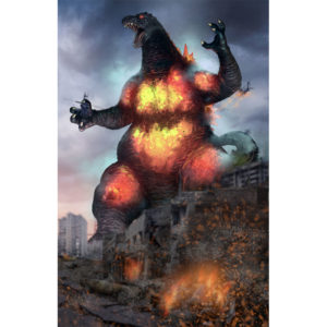 Burning Godzilla on Dark Cloud background right side